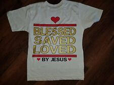 BLESSED SAVED LOVED BY JESUS T-SHIRT YOUTH JESUS Christ Christian T-shirt SAND