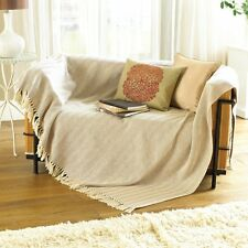 2 x Country Club Como Cotton Throws 127cm x 152cm Natural Sofa Chair Bed NEW