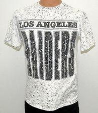 vtg LOS ANGELES RAIDERS White SPLATTER Print t-shirt M MED crazy LA 80s/90s nfl