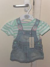 Marks & Spencer Indigo Collection Baby Girl Denim Dress 2 Part Set - To 3 Months