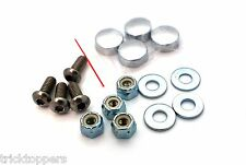 """4 Stainless Steel """"Anti Theft"""" Motorcycle License Plate Frame Button Head Bolts"""