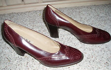 Leather NINE WEST 'Quintin' Wing Tip High Heels Dress Shoes~Reddish Brown~9.5M