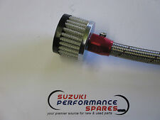 Suzuki RF900 Crankcase breather filter.10mm male fitting. rubber cap.