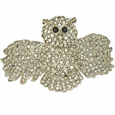 NEW KIRKS FOLLY NIGHTFALL OWL CUFF  BRACELET  SILVERTONE/ICE CRYSTAL