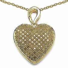 Champagne Diamonds Heart Yellow Gold Plated Sterling Silver Pendant + Chain
