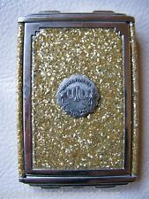 Antique Art Deco Gold Glitter Celluloid Miami Florida Camera Compact GIREY