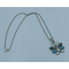 .925 Sterling Silver Natural Turquoise Black and White Pearl Butterfly Necklace