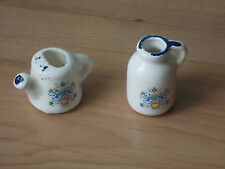 Vintage  Miniature China Watering Can & Milk Churn Floral Birds Hearts - VGC