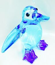 Penguin Crystal Glass Tiny Animal Figurine Blue Hand Painted Collectible Gift