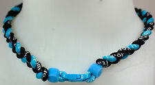 "NEW! 20"" Custom Clasp Braided Sports Light Blue Black Tornado Necklace Twisted"