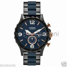 Fossil Original JR1494 Men's Nate Black & Blue Stainless Steel Watch 50mm Chrono