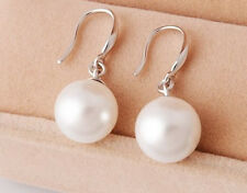 925 Sterling Silver Freshwater Sea Shell Pearl Drop Dangle Earrings Gift Box C9