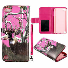Pink Deer Camo Wallet Leather Flip Pouch Ipod Apple Touch 5 5th Gen  Case Cover