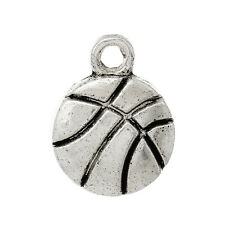 10 Pieces Antique Silver Basketball Charms