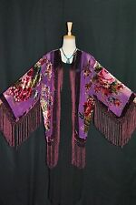 Purple Eastern Flower Burnout Silk Velvet Fringe Sheer Jacket Coat Duster
