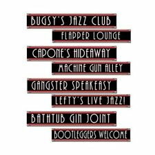 Pack of 8 Gangster Themed Street Signs - 10 x 61cm - 1950's Party Decoration