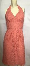 Davids Bridal Pink Halter Dress 8 Short Bridesmaid Lace Parfait F15623 $149