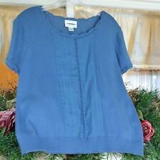 Christopher Banks Shell Sweater L Classic Crochet Pin Tucks Work Casual New
