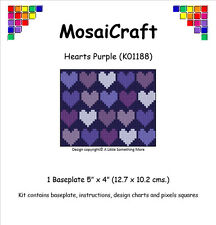 "Mosaicraft pixel d'art mosaïque Craft Kit' hearts violet ""valentine"
