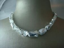 """VINTAGE FACETED GLEAMING SILVER 16"""" ADJ LENGTH CRYSTAL CHOKER NECKLACE"""
