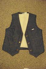 mens vTg wrangler faux shepra lined medium wash button front denim jeans vest xl