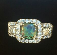 14K GOLD 3.27 CT GIA CERTIFIED GREEN TO PURPLE ALEXANDRITE DIAMOND RING!!!