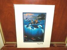 "By Wyland & Jim Warren ""Whale Rides""  Lithograph With Gold Foil Stamp"