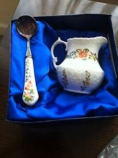 Aynsley Cottage Garden Set of Cream / Sauce Jug and Spoon Fine Bone China