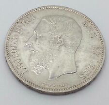 1869 BELGIUM SILVER 5 FRANCS LEOPOLD II EXTRA FINE COIN