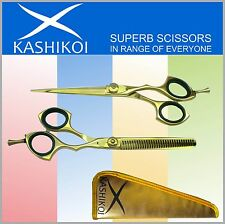 Professional Barber Hair Cutting Scissors & Shears Titanium Gold Set Sleek style