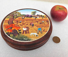 Vintage wooden teapot stand Rural countryside picture Harvest Haymaking poppies