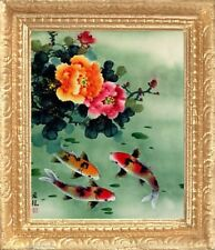 KOI FISH & BLOSSOMS Dollhouse Picture - Asian Framed Art - MADE IN AMERICA