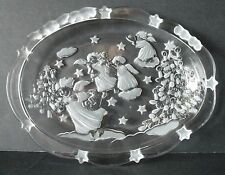 """9.25"""" MIKASA Christmas Angels Frosted Crystal Platter plate"""