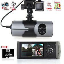 "DashCam 2.7"" LCD Dual Camera Lens Car DVR GPS Tracker on Google Map - FREE 32GB"