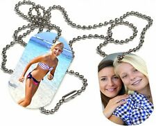 Personalised Photo or Design 1 x ID Dog Tag  With Bead Necklace, ONE SIDE ONLY