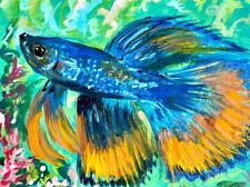 ORIGINAL ACEO BETTA FISH PAINTING Blue & Orange Pet Fish Goldfish mini ATC ART