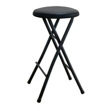 NEW BLACK FOLDING STOOL SEAT OFFICE HOME KITCHEN BAR COUNTER LIGHTWEIGHT CHAIR
