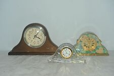 3x Mantlepiece Clocks Big Small Large All Working Floral Glass Ornamental Clock
