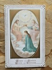Antique French Religious Queen Of Justice Queen Of Virtues Gold Holy Mass Card