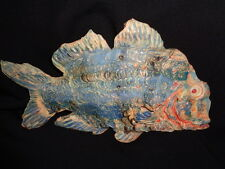 "Hand crafted 13"" Tropical Fish Wall Mount Decor Sculpture  Signed no 2"