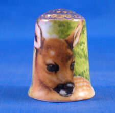 Birchcroft China Thimble -- Gold Top -- Deer -- Free Dome Box