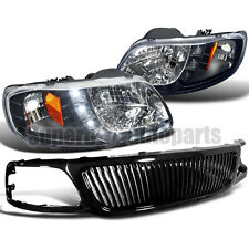 1999-2003 Ford F150 SMD LED DRL Headlights+Vertical Hood Grille Glossy Black