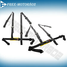 4 POINT RACING SEATS BELTS HARNESS PAIR BLACK NO LOGO FOR HOND ACURA