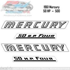 1961 Mercury 50 HP Outboard Reproduction 4 Piece Vinyl Decal Kit  500