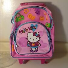 Sanrio Hello Kitty School Large Roller Backpack ~ Pink & Red with luggage handle