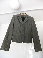 Ladies H&M Brown & Grey Herringbone Short Jacket With Wool Size 10