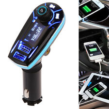 Wireless Bluetooth Car Kit MP3 Player FM Transmitter SD TF Dual USB Charger Blue