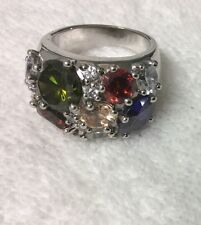 Signed  NVC Beautiful Silver Multicolor Gemstone Ring Sz 8