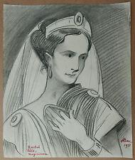 Dessin Ancien Portrait Femme RACHEL FELIX Actrice Théâtre FERDINAND BAC 1951