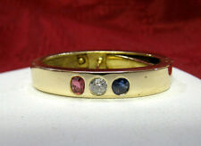 ANTIQUE 14K GOLD SAPPHIRE DIAMOND RUBY PATRIOTIC COLOR SCARF CLIP PIN BROOCH